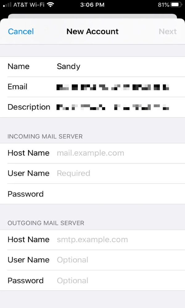 افزودن ایمیل به اپلیکیشن ایمیل در آیفون