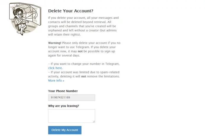 حذف دائمی حساب کاربری تلگرام