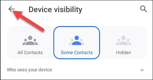 تغییرات visibility قابلیت Nearby Share