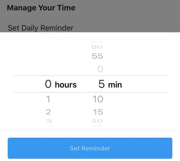 مدیریت میزان استفاده از اینستاگرام