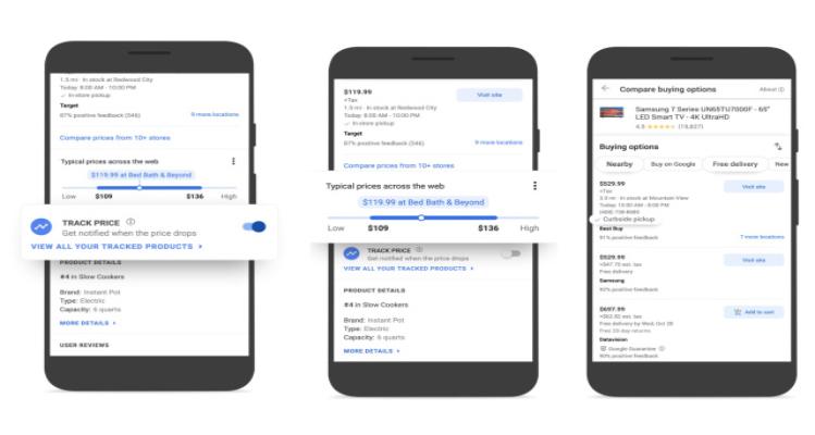 قابلیت مقایسه و ردیابی قیمت گوگل