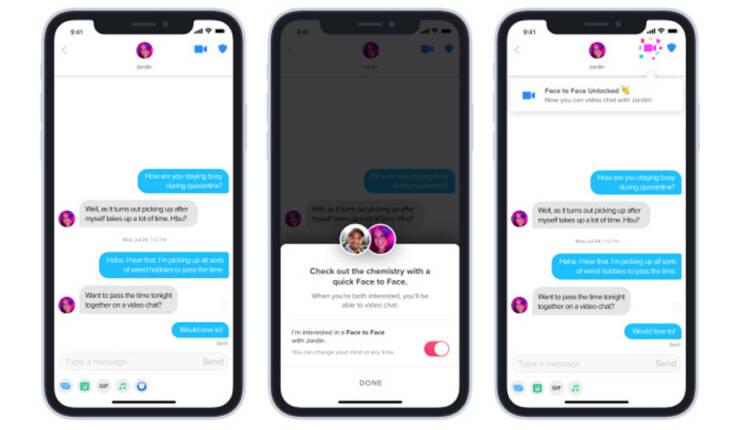 قابلیت تماس تصویری Face to Face در اپلیکیشن تیندر