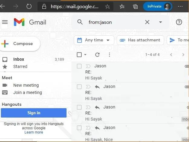 مرتبسازی ایمیلها