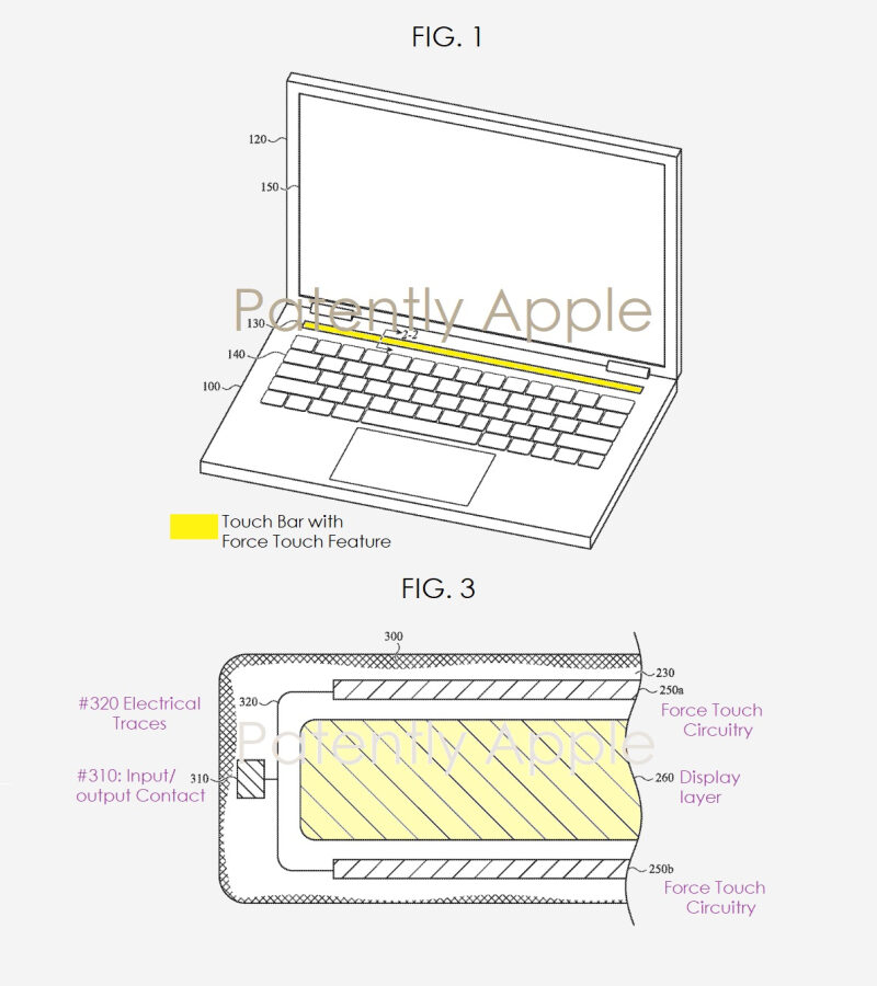 پتنت جدید Touch Bar با تکنولوژی Forse Touch