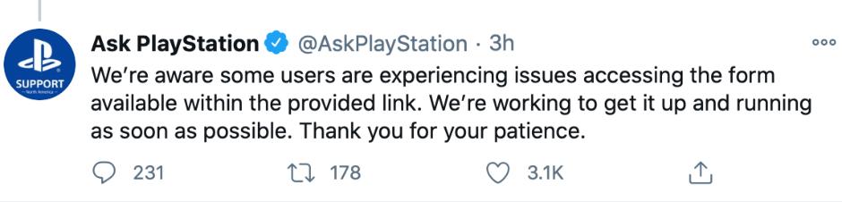 بیانیهی سونی در توییتر در رایطه با بازی Cyberpunk 2077