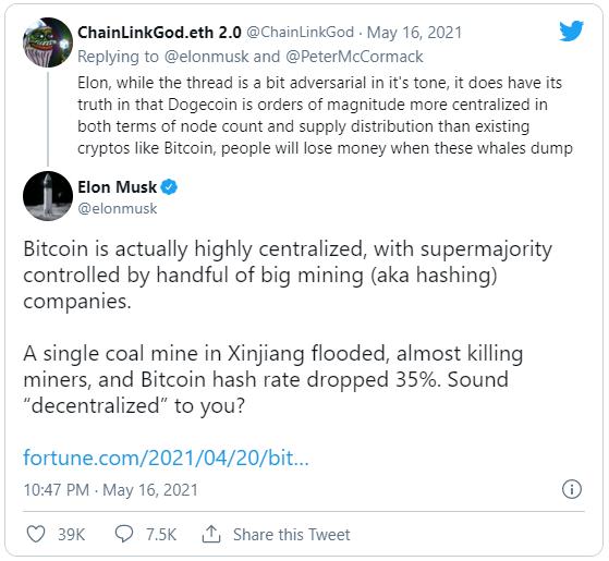 توییت ایلان ماسک در مورد متمرکز بودن شبکه بیت کوین