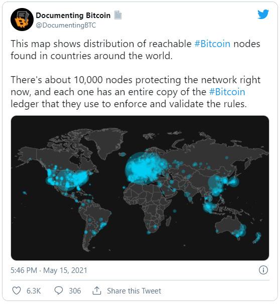 توییتی که نودهای شبکه را در نقشه نشان می دهد
