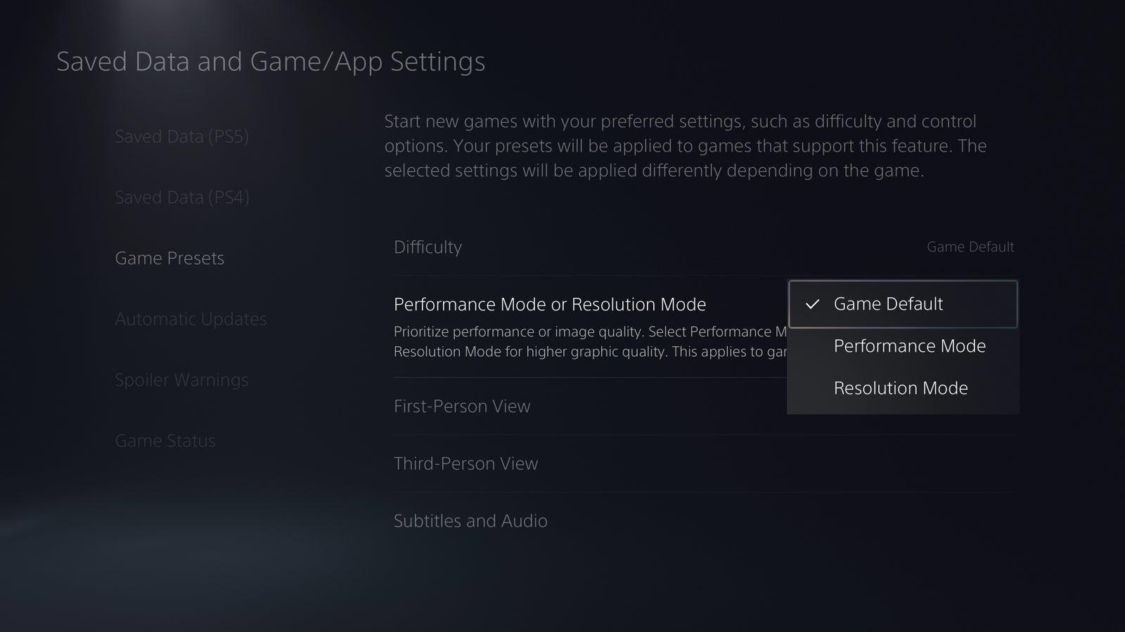 تنظیمات کنسول PS5