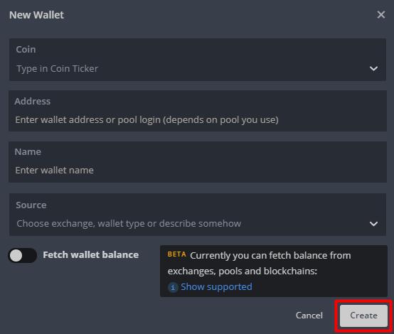 وارد کردن اطلاعات Wallet