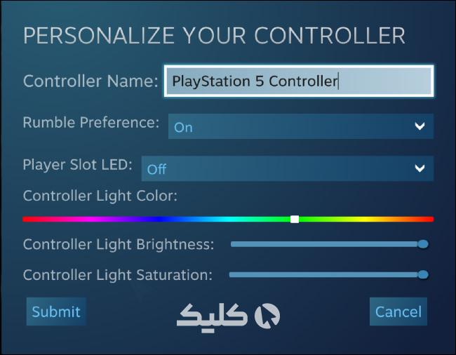 پنجره شخصیسازی دسته PS5